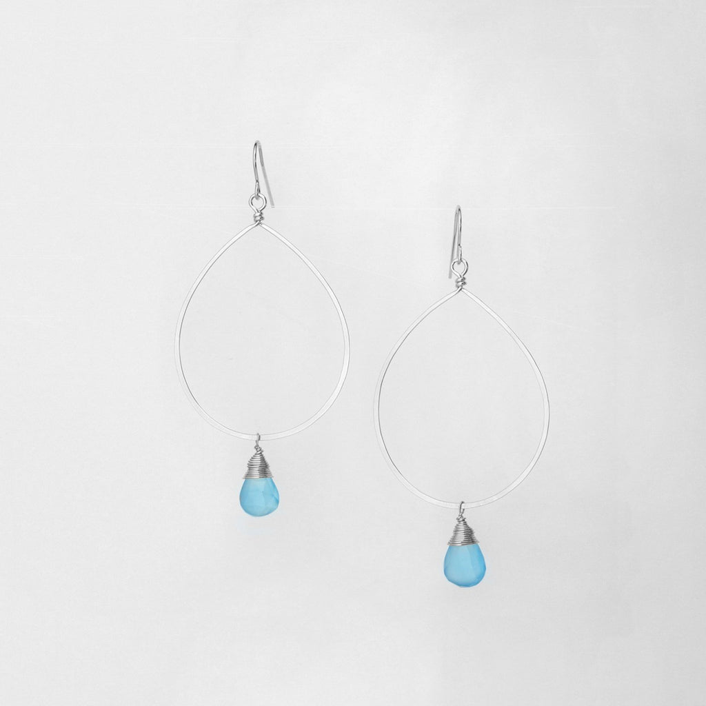 Large Sterling Silver Forged Teardrop Earrings Sky Blue Chalcedony Drop