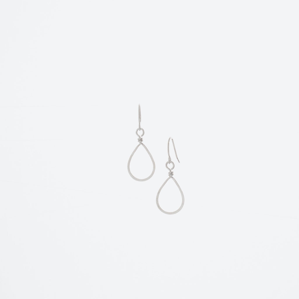 Small Sterling Silver Forged Teardrop Earrings