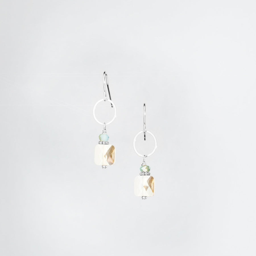 Sterling Silver Square Swarovski Crystal Earrings Aqua Crystal Accent