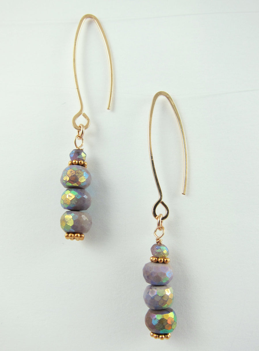 Aurora Borealis Sugilite Gemstone Stack Earrings
