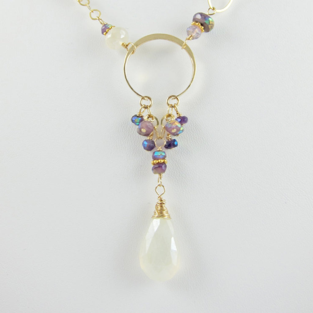 amethyst and pearl chalcedony gemstone necklace