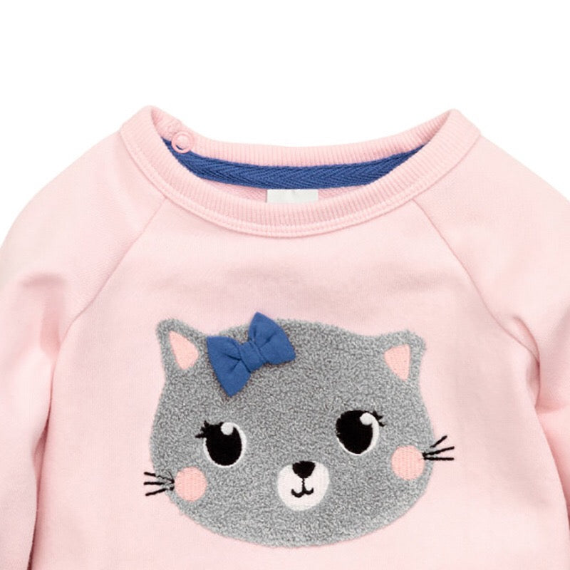 29e99bb75 Baby Girl - Pink Cat Pullover Top – OrangeTots
