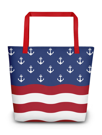 American Flag Anchor Boating Tote Bag