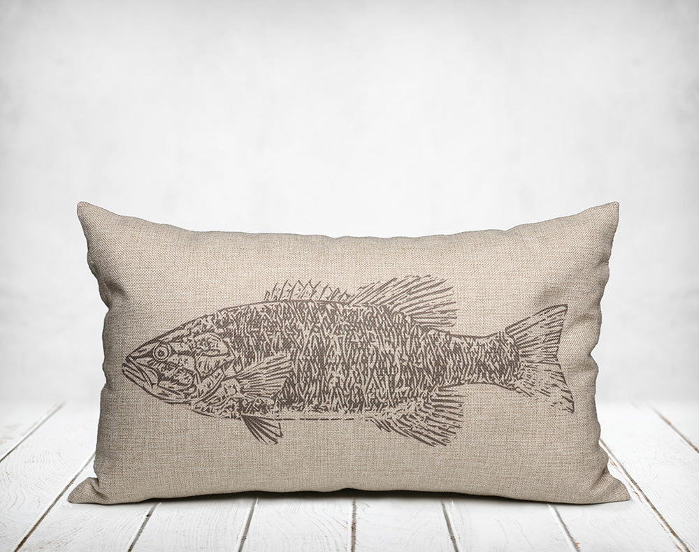 Vintage Bass Fish Lakehouse Pillow