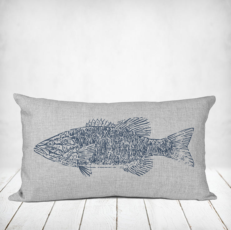 Vintage Bass Fish Lakehouse Pillow - Nice Aft