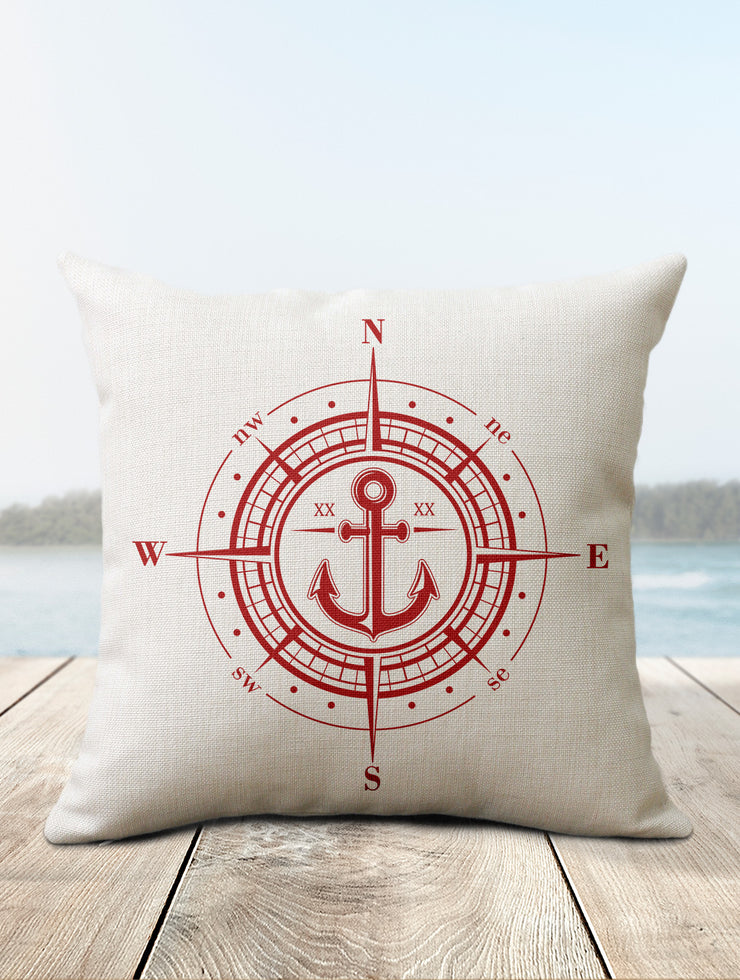 Compass Pillow | Coastal Decor
