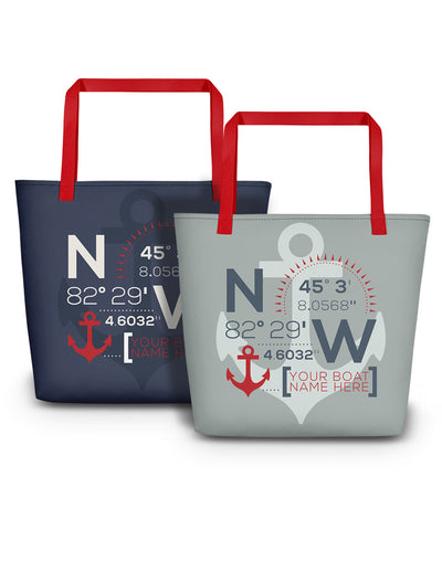 Custom Coordinate Boat Tote Bag - Nice Aft