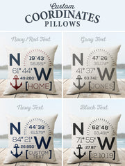 Custom Coordinate Pillows - Nice Aft