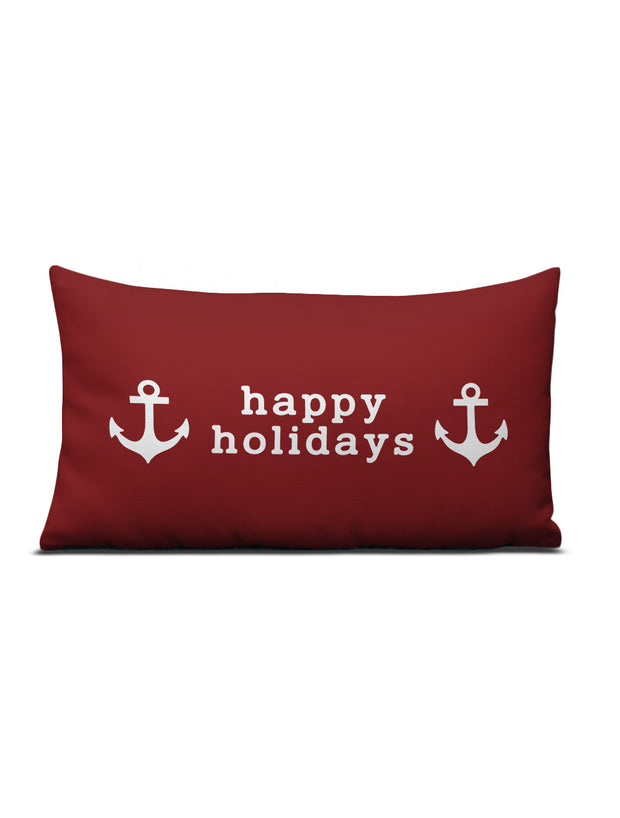 Happy Holidays Anchor Pillow
