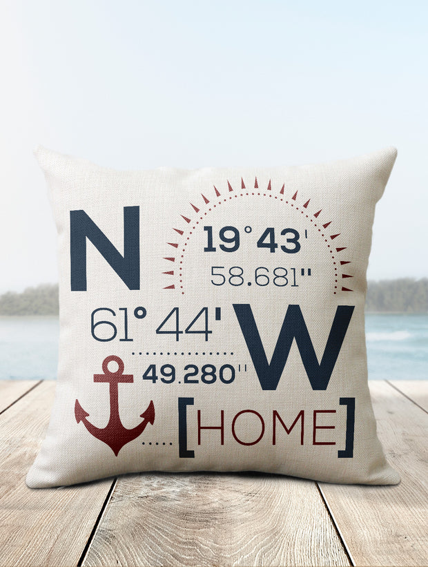 Nautical Pillow | Custom Coordinates Decor