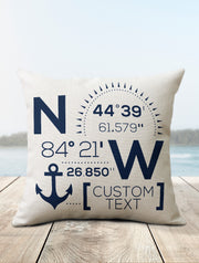 Nautical Pillow | Custom Coordinates Decor - Nice Aft