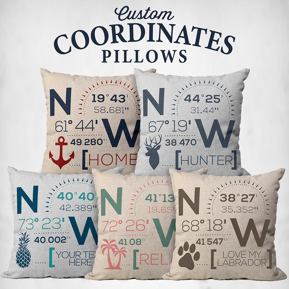 Custom Map Coordinates Pillow