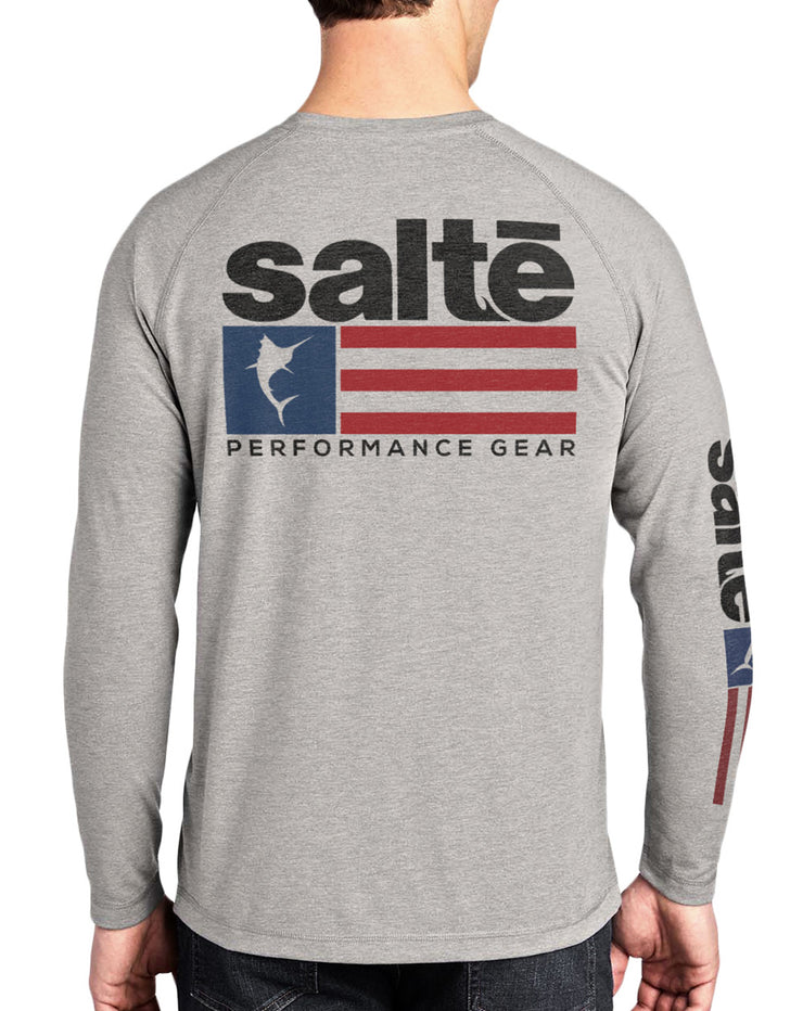 Men's Saltē American Flag Quick-Dry Long Sleeve Fishing Shirt