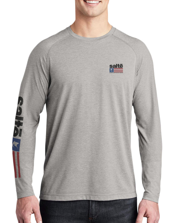 Men's Saltē American Flag Quick-Dry Long Sleeve Fishing Shirt - Nice Aft