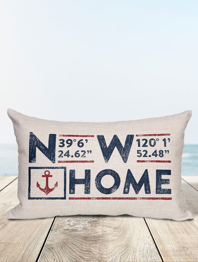 Custom Nautical Coordinates Pillow