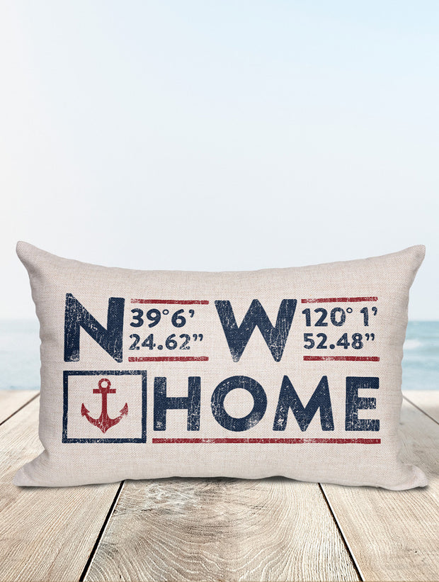 Custom Nautical Coordinates Pillow - Nice Aft