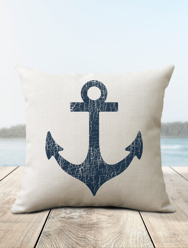 Vintage Anchor Nautical Pillow - Nice Aft