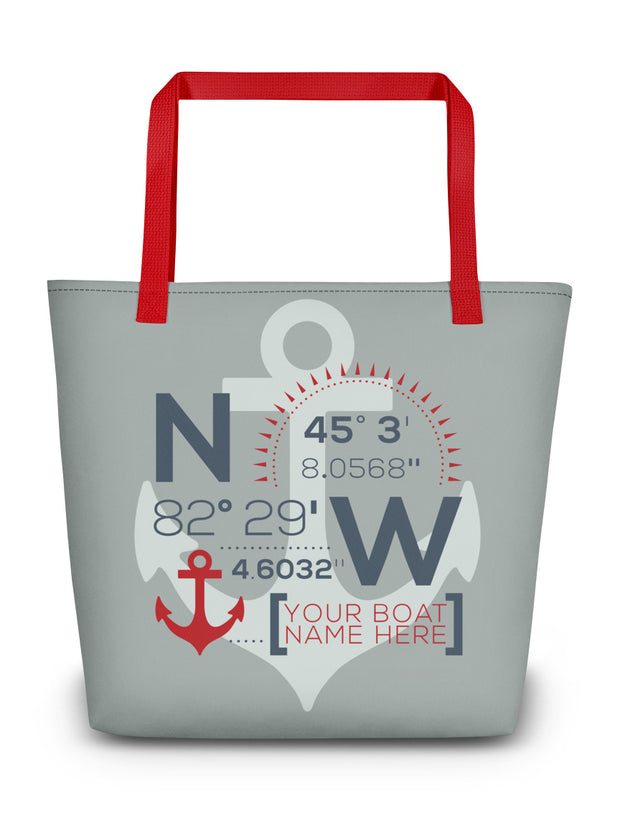 Custom Coordinate Boat Tote Bag