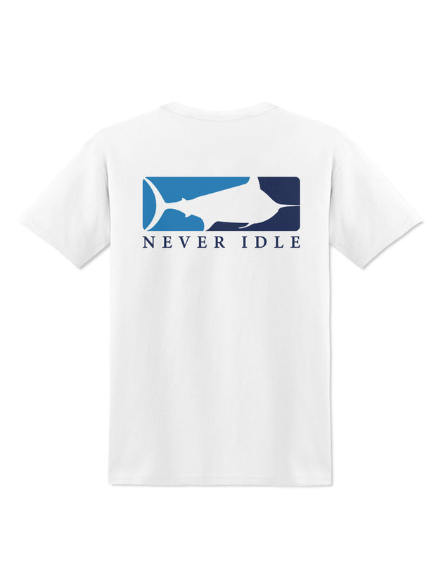 Never Idle  Blue Crew Tee