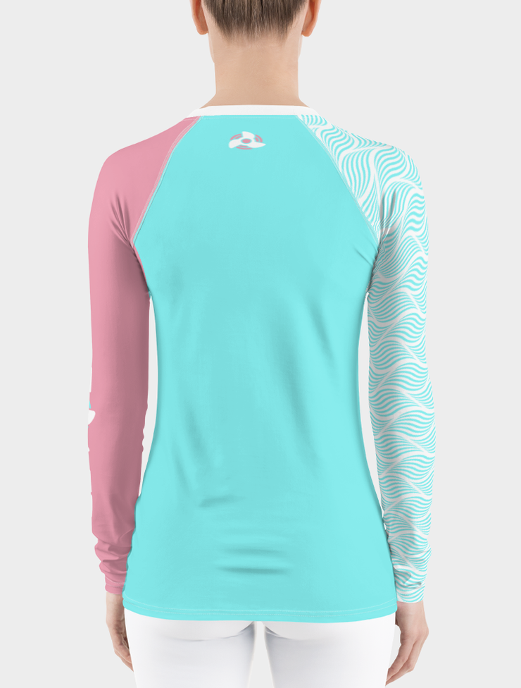 UV Rash Guard Shirt | Women's Teal Waves Rash Guard - Nice Aft