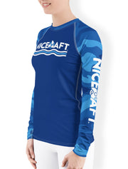 UV Rash Guard Shirt | Women's Blue Camo Rash Guard