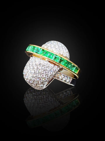 Alfieri St. John Emerald & Diamonds Ring