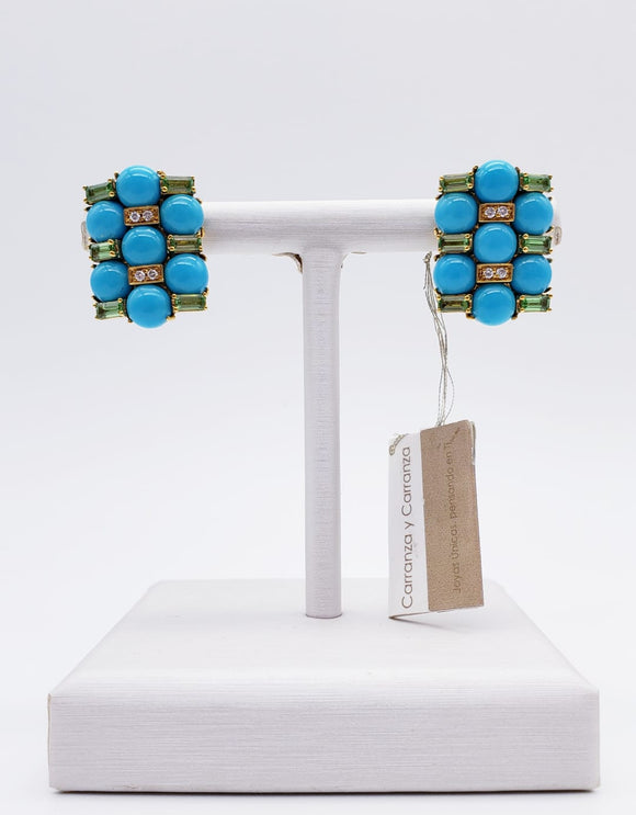 Alfieri & St. John Turquoise & Peridot Earrings