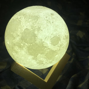3D-Printed Moon Lamp LED Night Light Desk Top Lamp with Wooden Base and Touch Seneor for Bedroom and Living Room