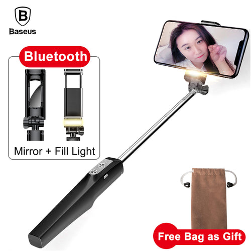 Baseus Selfie Stick Bluetooth Monopod with Led Flash Fill Light Rear Mirror Selfiestick For iPhone Samsung Xiaomi Android Phones