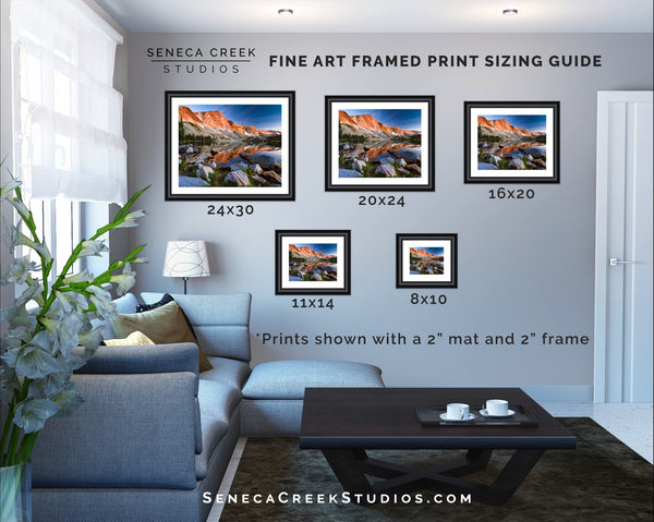 SenecaCreekStudios.com | Fine Art Nature and Landscape Photography | Fine Art Archival Matted and Framed Print Size Guide | Modern Framed Wall Print Home Decor | Seneca Creek Studios is Based in Laramie, Wyoming