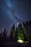 """Tent Under the Stars for the Perseid Meteor Shower in the Mountains of Wyoming"" Fine Art Photographic Nature and Landscape Prints by Allison Pluda 
