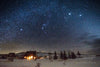 """Cabin under Orion and a winter starry sky, Sybille Canyon, Wyoming"" Fine Art Photographic Nature and Landscape Prints by Allison Pluda 