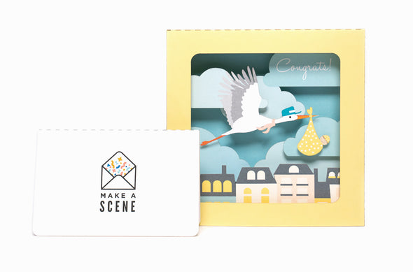 Baby Shower Stork 3D Pop Up Greeting Card
