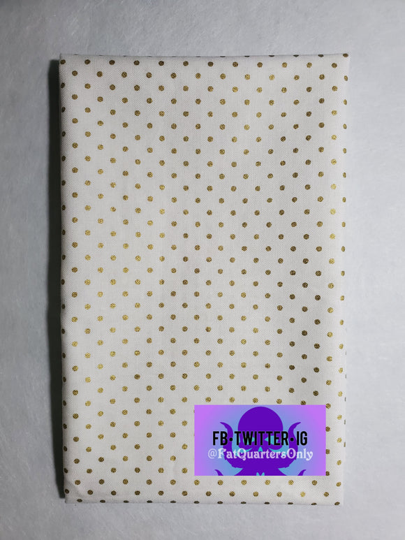 Fat Quarter Dot small gold on white