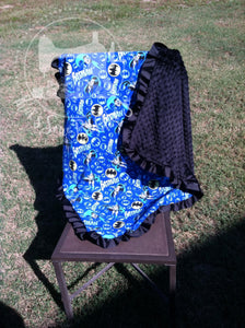 Batman Blanket with ruffles and embroidery