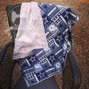 Dallas Cowboys Grey Minky backed blanket