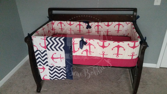 Anchor/pink Crib Bedding