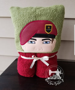 Hooded Towel - Airborne Army Soldier