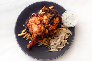 Big Deez Kitchen- Grilled Nduja & Chorizo Chicken With Coleslaw and fries.