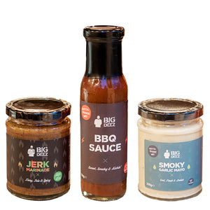 Big Deez Jerk Marinade, BBQ Sauce & Smoky Garlic Mayo