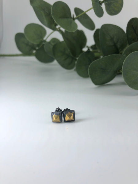 Black & Gold Pyramid Stud Earrings