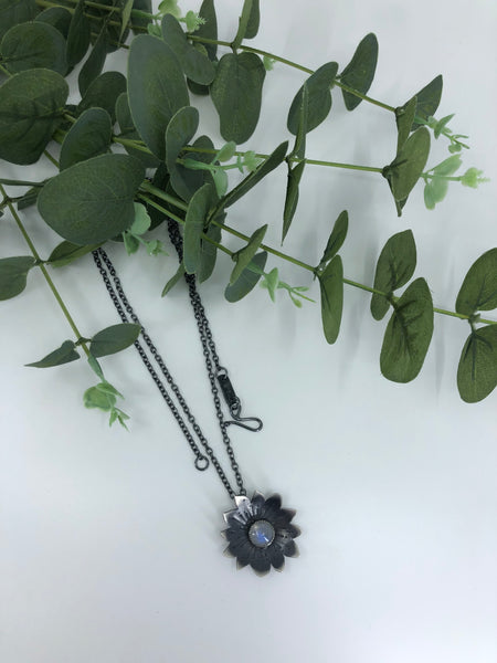 Sunflower Pendant Necklace With Moonstone - Large