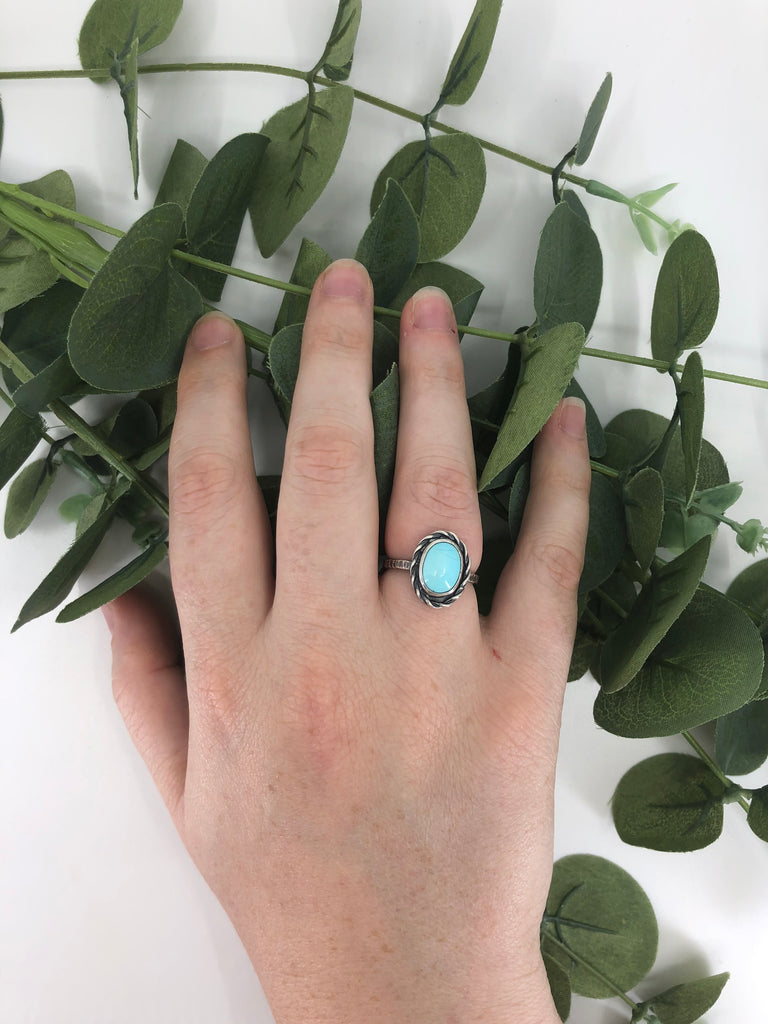 Sleeping Beauty Turquoise Stacking Ring - Size 7