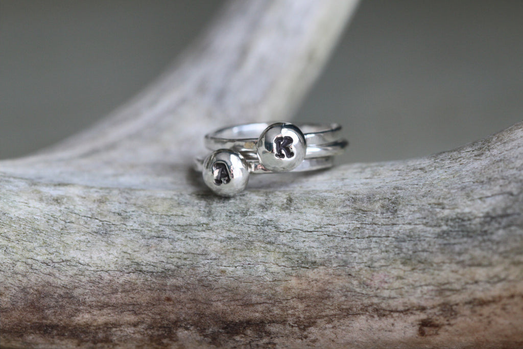 Silver Drop Initial Ring Set - Two Letters