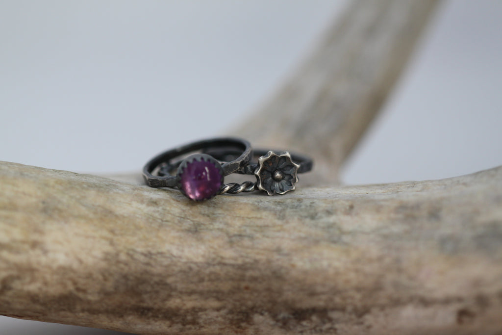 Amethyst Floral Stacking Ring Set - Made to Order