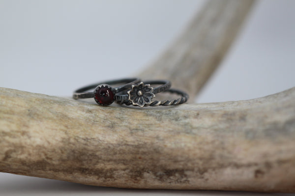 Garnet Floral Stacking Ring Set - Made to Order