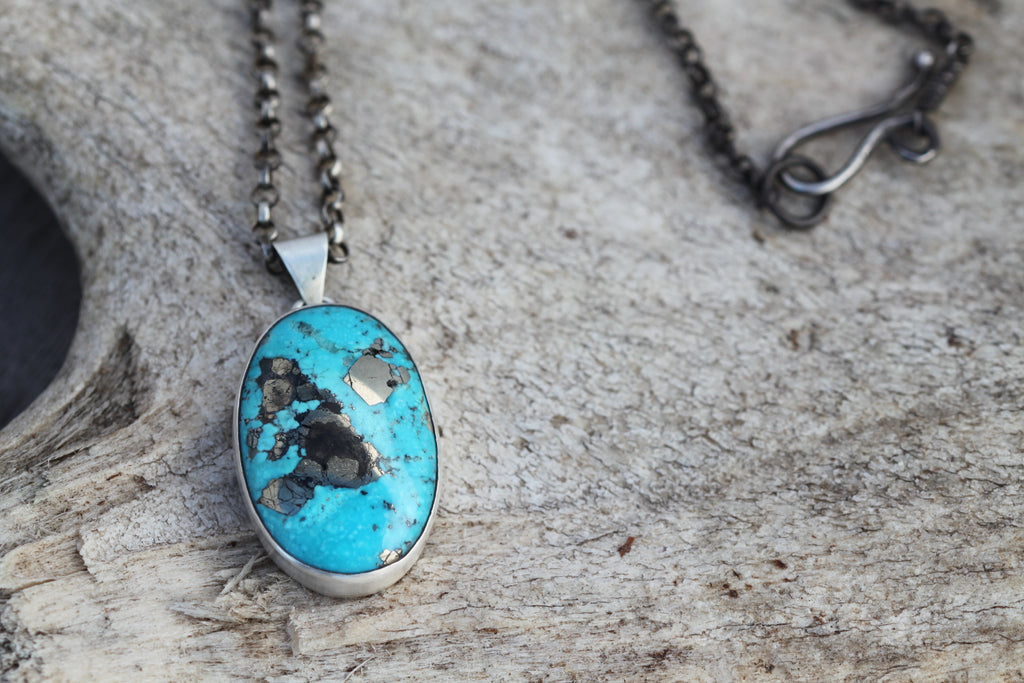 Campitos Turquoise with Pyrite Statement Pendant