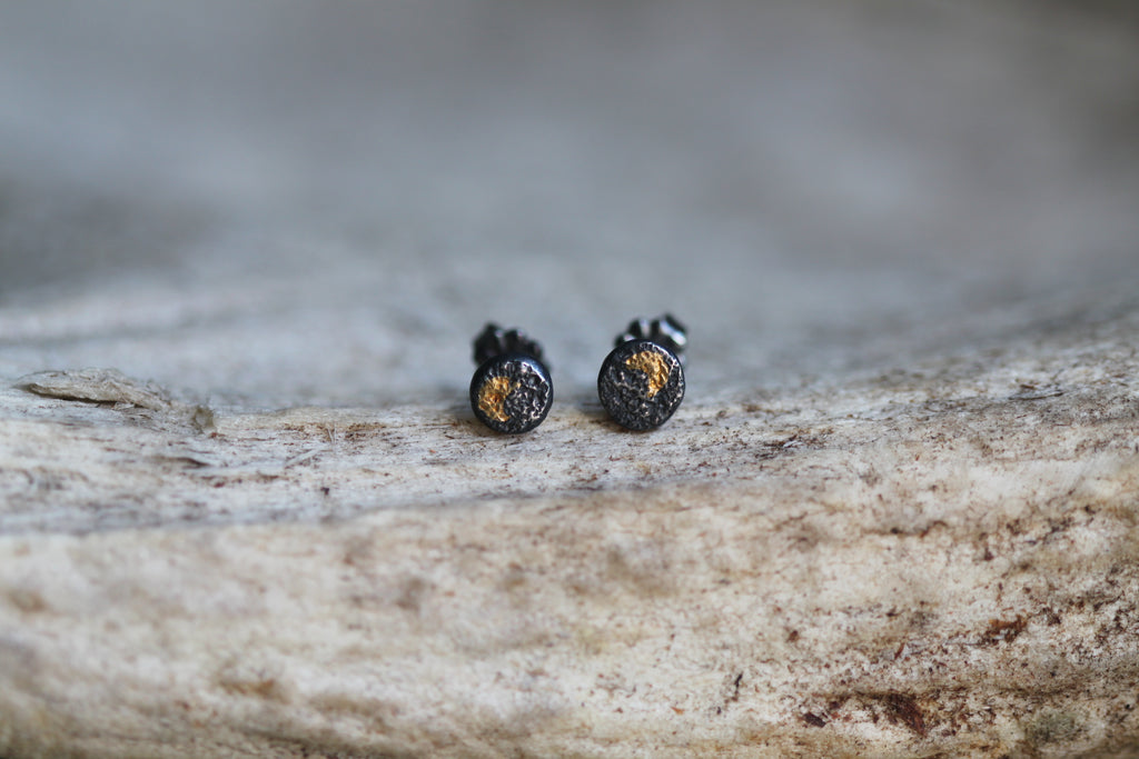 Black & Gold Smashed Stud Earrings