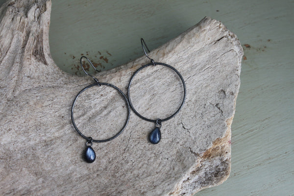 Kyanite Teardrop Hoops