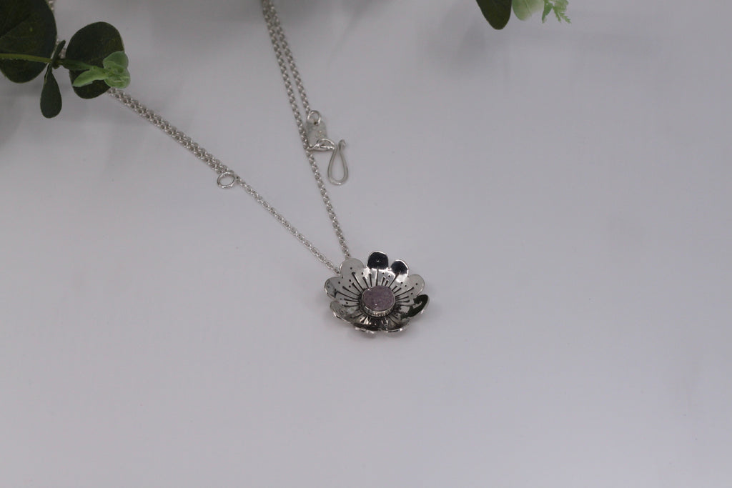 Buttercup Flower Pendant Necklace With Druzy - Large